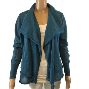 ELIE TAHARI Blue Linen/Silk Waterfall Cardigan M